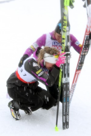 Jessie Diggins (bottom) and Caitlin Gregg after notching silver and bronze, respectively, at 2015 Planet Championships in the 10 k skate.