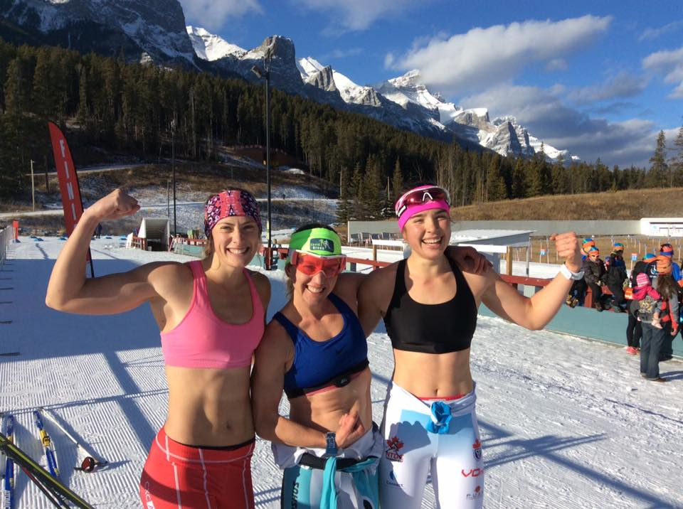 "On Sunday, CXC posted this photo and caption about the Alberta Cup classic distance race: ""Double CXC Team Win! Felicia Gesior double poles to a victory in the women's classic race. Photo with the other two girls to double pole the race. These girls are STRONG!"" (Photo: CXC Skiing Facebook)"