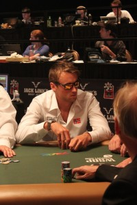 Petter Northug during his first day at the 2010 World Series of Poker