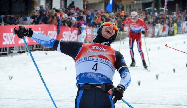 Segio Bonaldi celebrates right after winning in a sprint finish at the 2015 American Berkebeiner. It is Bonaldi's second Birkie title. (Photograph: American Birkebeiner Ski Basis)