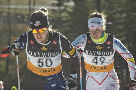 Ida Sargent (U.S. Ski Staff/CGRP) leads Perianne Jones (Canadian NST) in round two. The two went on to location initial and 2nd among women in the Frozen Thunder traditional sprint on Friday. (Photograph: Angus Cockney)