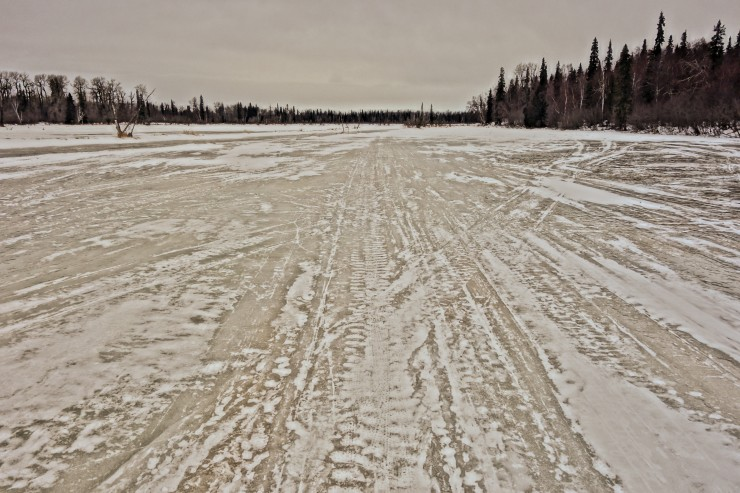 A fairly typical section of the Susitna 100 course. The yellow stuff is solid ice. Photo: Seth Adams