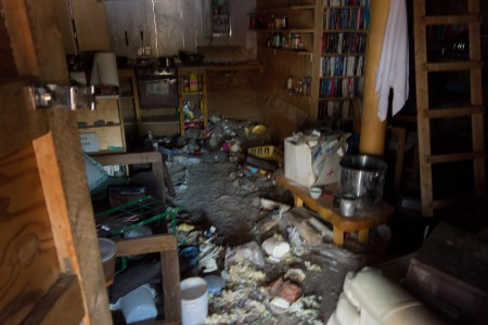 The inside of the trashed cabin. Photo: Seth Adams