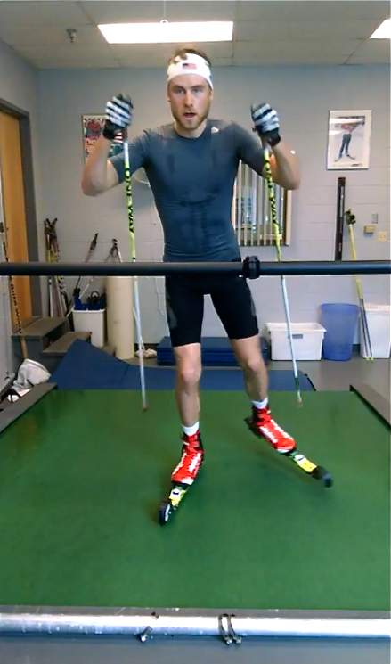 Max Durtschi spending some time on the rollerski treadmill in Lake Placid. (Courtesy photo)