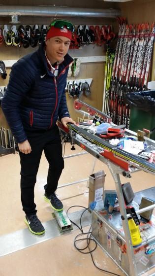 Erik Bjornsen with the Woodskis foot clamp in Sochi.