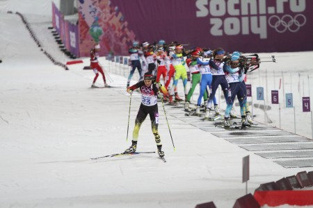 Germany's Evi Sachenbacher-Stehle leaves the range during Monday's Olympic mass start race.