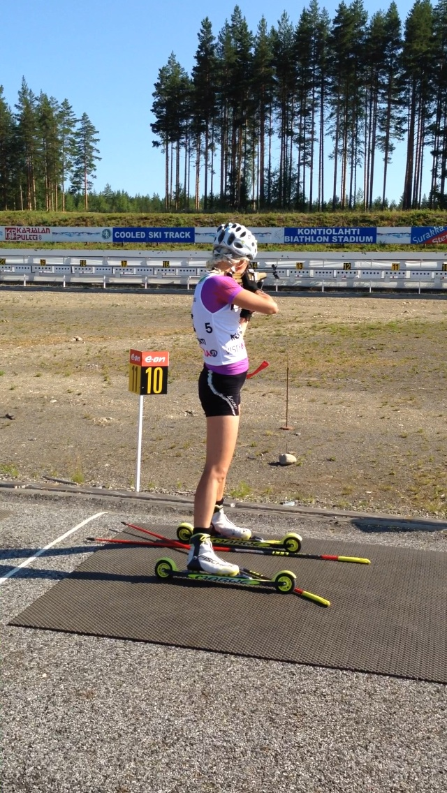 Finnish biathlete Kaisa Mäkäräinen shooting at her home program in Kontiolahti, Finland, exactly where she hosted the U.S. women's group in late July. (Photograph: Jonne Kähkönen)