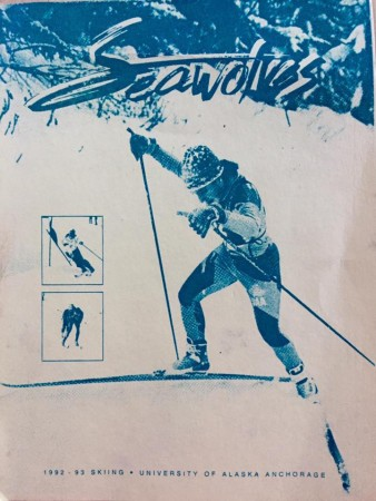 Joey Caterinichio skiing for the University of Alaska Anchorage (UAA) Seawolves, as shown in the 1992-1993 Seawolves media guide. (Photo: courtesy Joey Caterinichio)