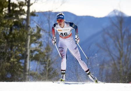U.S. ski team member, Sadie Bjornsen racing to a 17th overall in the women's10 k freestyle at Stage 7 of the Ski Tour Canada in Canmore, Alberta. (Photo: Fischer/NordicFocus)