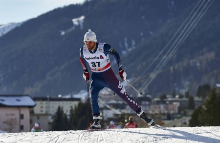 Brian Gregg (Team Gregg/Madshus) on his way to 65th in the Davos World Cup 30 k freestyle on Saturday in Switzerland. (Photo: Madshus/NordicFocus)