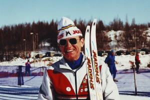 March 1991 Bjorn Lasserud of Minneapolis at World Masters Championships at Kincaid Park in Anchorage. Lasserud, winner of more National and World Masters championships than most people can count, is equally noted for his coaching and inspiration to countless others, to start and stay in Nordic skiing. Photo: Peter Hale