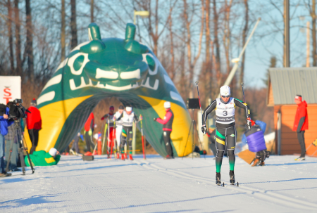 Manon Locatelli of the University of Alaska Anchorage double poles out of the start of the 2015 Seawolf Invite at Kincaid Park in Anchorage, Alaska. (Photo: Sam Wasson Photography / http://portfolio.samwassonphotography.com/about)