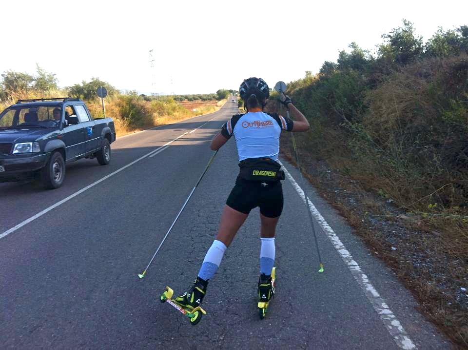 Victoria Hernandez rollerskis in her native Spain while wearing there Out There training kit. Hernandez was the first member of the Out There Biathlon and Nordic Team. The Team now has seven members and aims to support its athletes through a family-like environment. (Photo: Out There/Facebook