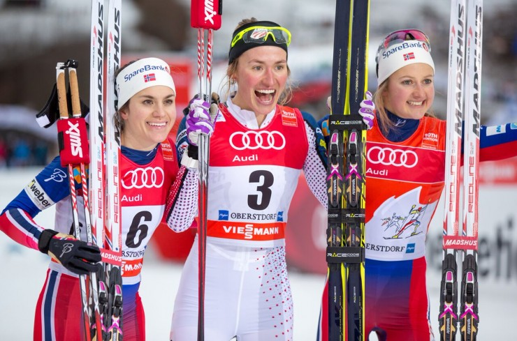 Sophie Caldwell (c) after getting to be the very first U.S. lady to win a World Cup traditional sprint with the other podium finishers, Norway's Heidi Weng (l) in second and Ingvild Flugstad Østberg (r) in third in the 1.2 k classic sprint at Stage 4 of the Tour de Ski in Oberstdorf, Germany. (Photo: Marcel Hilger)