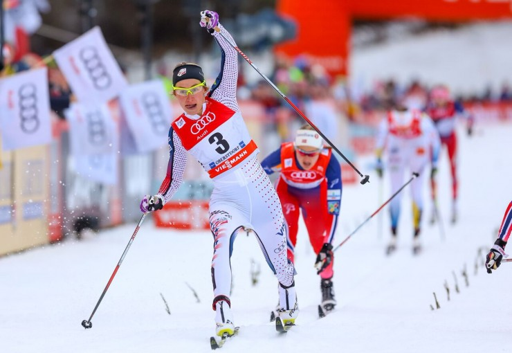 Sophie Caldwell (U.S. Ski Crew) lunges to edge Norway's Heidi Weng (not shown) for the win in the one.2 k traditional sprint last at Stage 4 of the Tour de Ski in Oberstdorf, Germany. (Photo: Marcel Hilger)