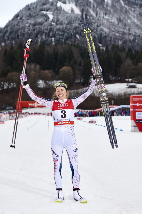 Sophie Caldwell soaks up her first World Cup win on Tuesday at the Tour de Ski Stage four traditional sprint in Oberstdorf, Germany. (Photograph: Fischer/NordicFocus)