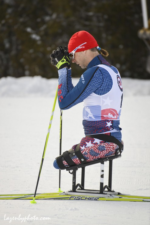 Andy Soule (U.S. Paralympics A-group) at 2016 U.S. Paralympics Sit Ski Nationals and IPC Continental Cup. (Photograph: John Lazenby/Lazenbyphoto.com)