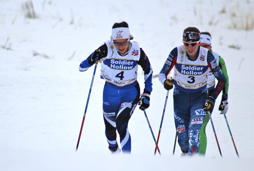 Chelsea Holmes (l) of Alaska Pacific University leads Katharine Ogden (c) and Caitlin Patterson of the Craftsbury Green Racing Project during the women's 20-kilometer classic masst start on Tuesday at U.S. nationals in Midway, Utah.