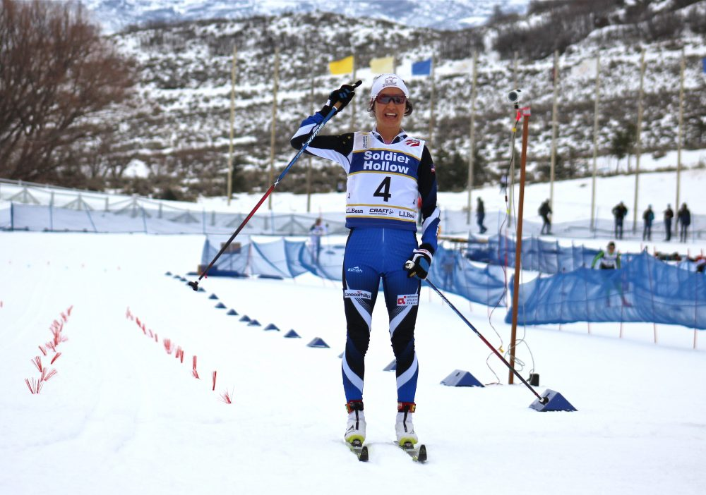 Chelsea Holmes of Alaska Pacific University crosses first in women's 20-kilometer classic mass start on Tuesday at U.S. nationals in Midway, Utah.