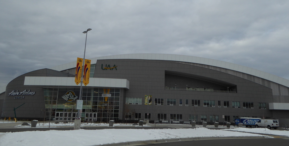 The Alaska Airlines Center, home to the University of Alaska Anchorage Seawolves athletics program in Anchorage, Alaska, photographed last month. (Photo: Gavin Kentch)