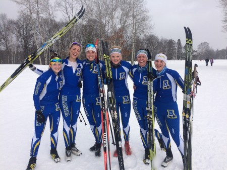 University of Alaska Fairbanks women's nordic-team skiers get together for a photo last season: (from left to right) Hannah Rowland, Anne-Tine Markset, Nichole Bathe, Martina Himma, Ann-Cathrin Uhl, and Sarissa Lammers. (Photo: Nick Crawford)
