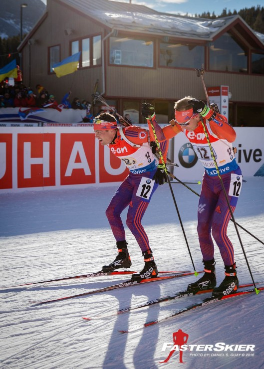 Tim Burke (l) right after tagging teammate Lowell Bailey in fourth, about 36 seconds behind Norway in third, for the duration of the mixed relay at the IBU Globe Cup in Canmore, Alberta. (Photo: Daniel S. Guay)