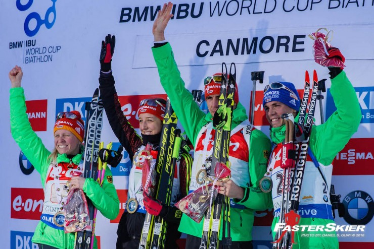 Germany topped the podium with a 1:twelve.9-minute win in the mixed relay on Sunday at the IBU World Cup in Canmore, Alberta, with (from left to correct) Franziska Hildebrand, Franziska Preuss, Arnd Pfeiffer, and Simon Schempp. (Photograph: Daniel S. Guay)