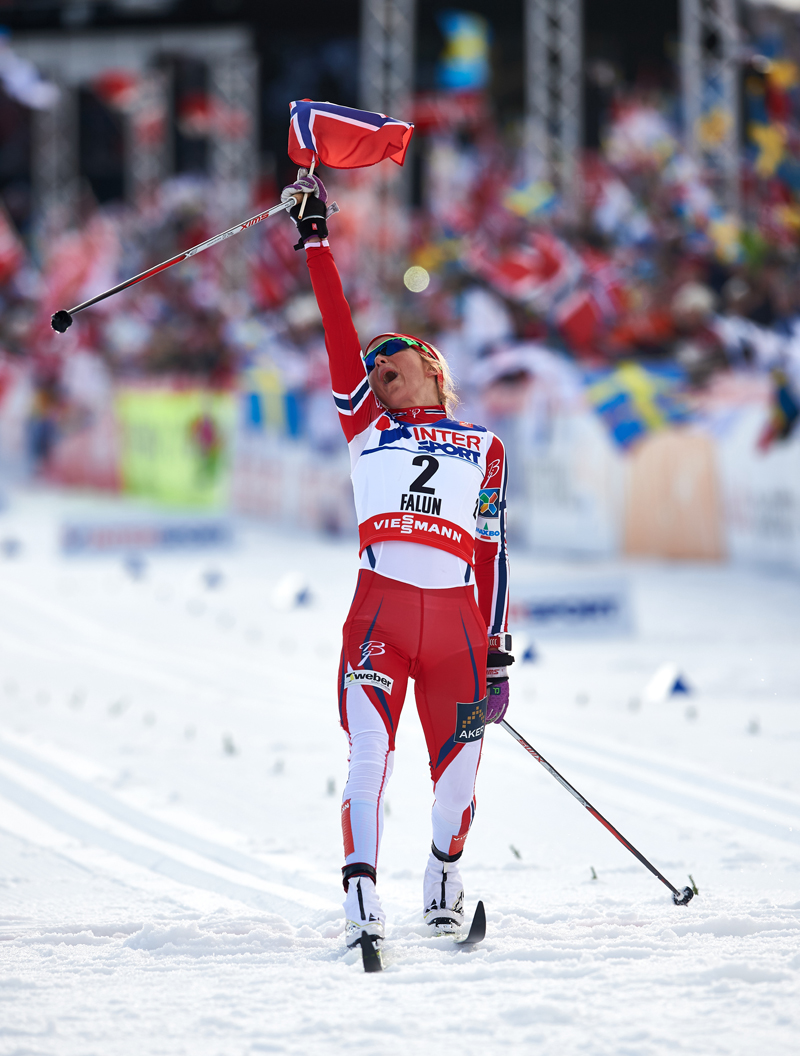 Therese Johaug following winning the 30 k at 2015 Planet Championships in Falun, Sweden. (Photo: Fischer/Nordicfocus.com)