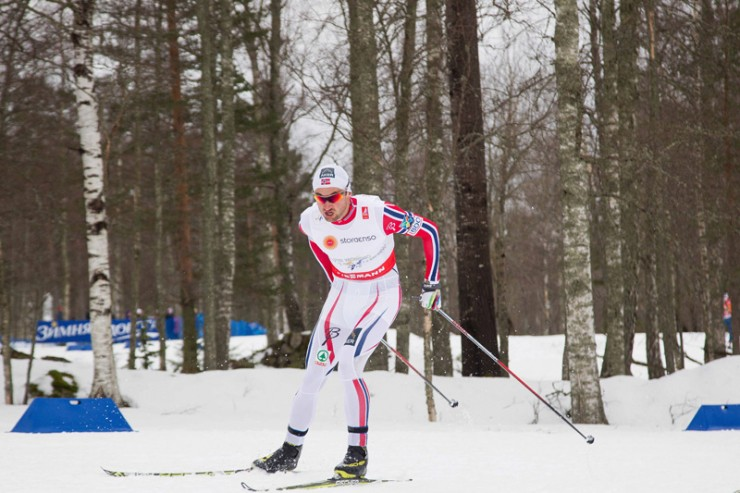 Petter Northug Jr., racing the 15 k freestyle at the 2015 Globe Championships in Falun, Sweden. It was by far his worst showing at a globe championships: he positioned 62nd. (Photo: Fischer/NordicFocus)