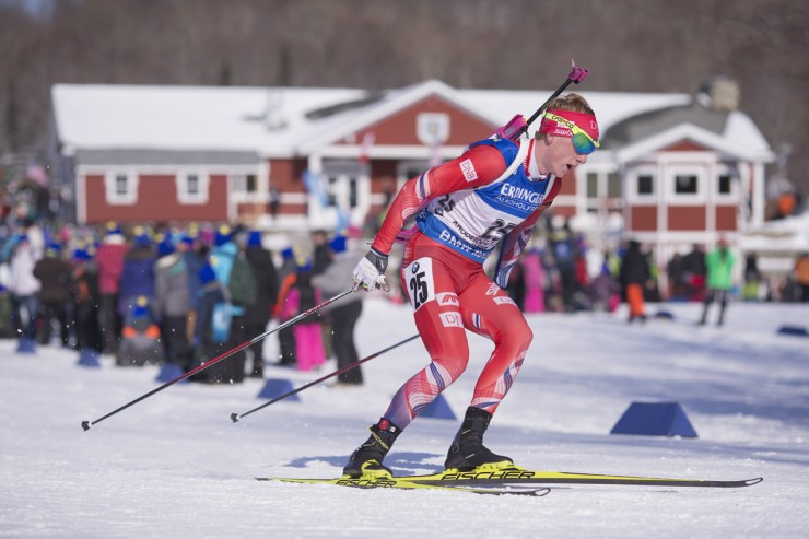 Norway's Johannes Thingnes Boe racing to a 28-second win in the IBU Globe Cup men's ten k sprint on Thursday in Presque Isle, Maine. (Photo: Fischer/NordicFocus)