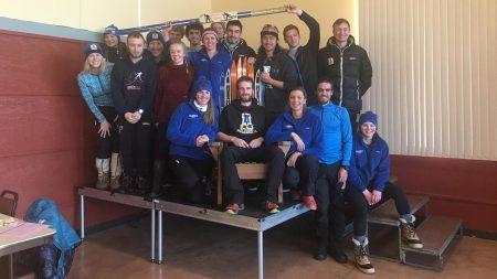 The University of Alaska Fairbanks ski team poses with the trophy for the Alaska Nordic Cup at Birch Hill Ski Area in Fairbanks, Alaska, on Nov. 20, 2016. (Photo: Nick Crawford/UAF Athletics)