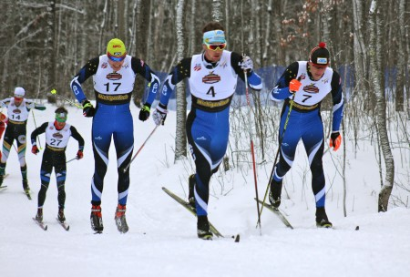 APU teammates and brothers Logan Hanneman (7) and Reese Hanneman (4) lead teammate Tyler Kornfield (17), Welly Ramsey (Mountain Endurance Sports) and Fredrik Schwencke of Northern Michigan University (far left) during their quarterfinal of the men's 1.5 k classic sprint on Saturday at U.S. nationals in Houghton, Mich.