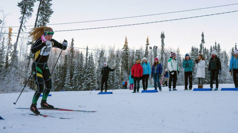 University of Alaska Anchorage freshman Hailey Swirbul skis through the stadium at Birch Hill Ski Area in Fairbanks, Alaska, in the Alaska Nordic Cup on Nov. 19, 2016. (Photo: Zachary Hall/UAA Athletics)