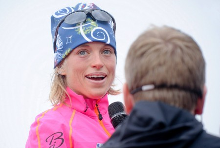 Liz Stephen completes an interview right after winning the 2014 Blink Festival opener by 27 seconds. (Photograph: Skifestivalen Blink)