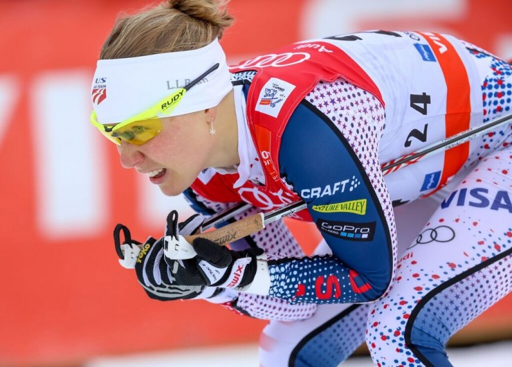 Ida Sargent ( U.S. Ski Staff) racing to third in her quarterfinal for 15th general at the one.2 k classic sprint at Stage 4 of the Tour de Ski in Oberstdorf, Germany. (Photograph: Marcel Hilger)