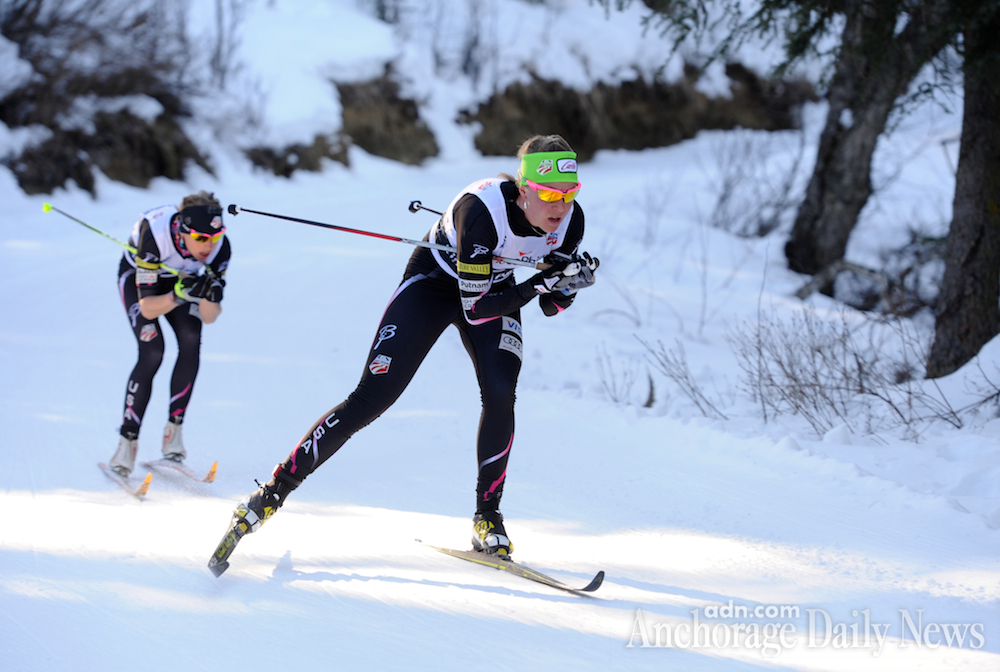 Sadie Bjornsen leads Liz Stephen in 2014 U.S. Distance Nationals thirty k traditional mass start off at Hillside trails in Anchorage, Alaska