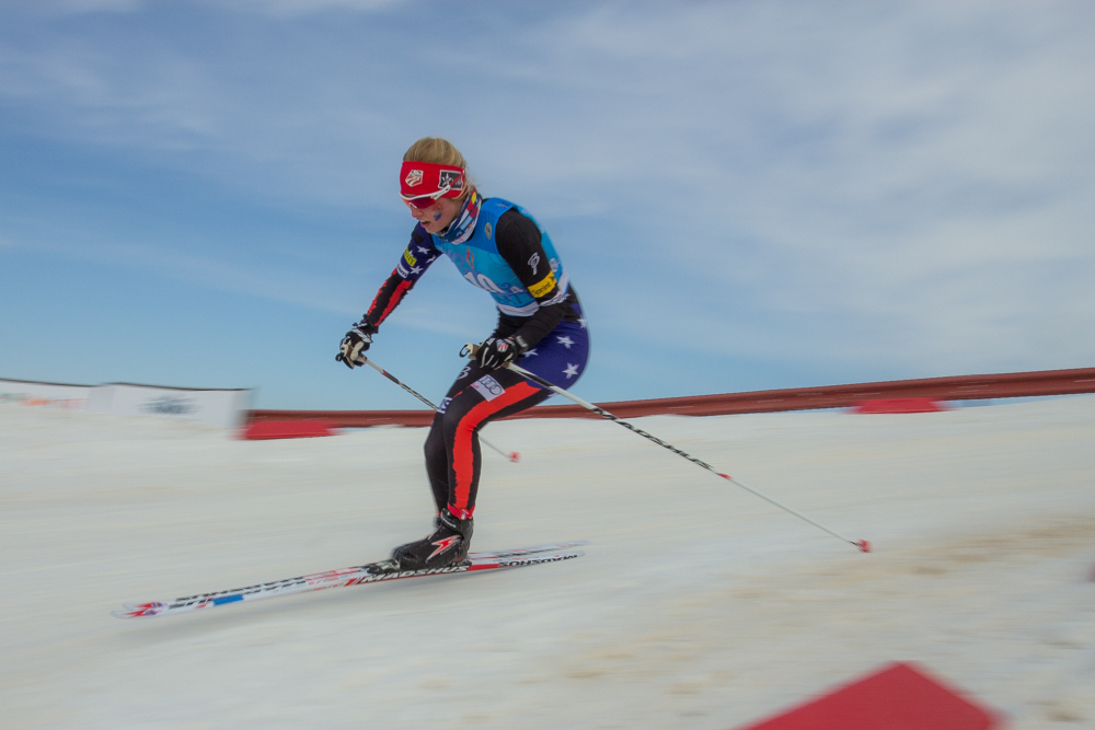 Hailey Swirbul of the Aspen Valley Ski Club races the anchor leg while guiding the American team to eighth place in the 4 x 3.3 k relay at the Junior World Championships in Almaty, Kazakhstan, in 2015. (Photo: Logan Hannneman)