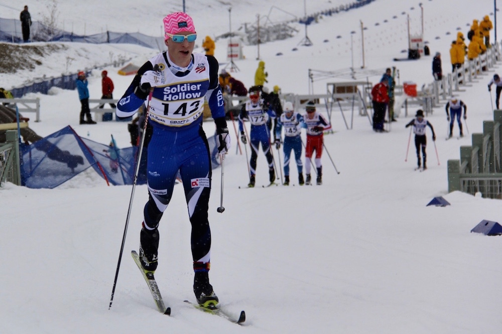 Hunter Wonders, of Alaska Pacific University, racing to fourth in the junior men's 10 k classic mass start earlier this month at 2017 U.S. nationals at Soldier Hollow in Midway, Utah. (Courtesy photo)