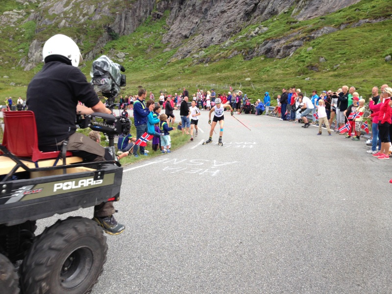 Kaisa Mäkäräinen (FIN) climbs to victory in the Lysebotn hill climb at the 2013 Blink festival. The women's hill climb is televised, unlike the Blink Classics. (Photo: blinkfestivalen.no)