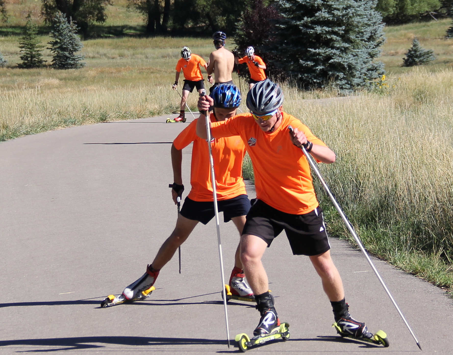 Athletes at the U20 NTG Camp in Park City, Utah rollerski during a latest instruction session. (Photograph: Bryan Fish)