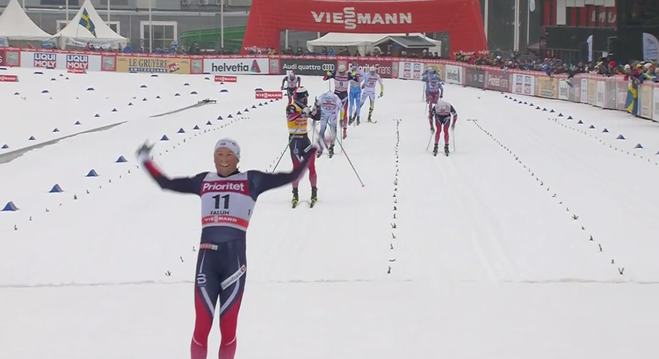 Emil Iversen celebrates his win in the 30 k classic mass start in Falun, Sweden, on Sunday. Norwegian teammate Martin Johnsrud Sundby finished second and Sweden's Calle Halfvarsson third.