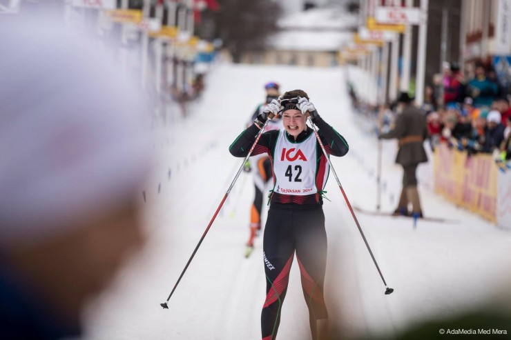 Sofia Henriksson sheds tears at the finish of final year's Tjejvasan, an yearly all-female event in Sweden, which she won. (Photograph: Hälsningar Adam)