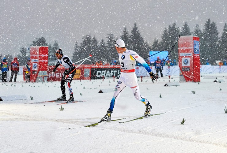 Swede's Calle Halfvarsson (front) edges Italy's Federico Pellegrino for the win in the person skate sprint at the 2013/2014 Tour de Ski in Oberhof, Germany. (Photograph: Felgenhauer/NordicFocus)