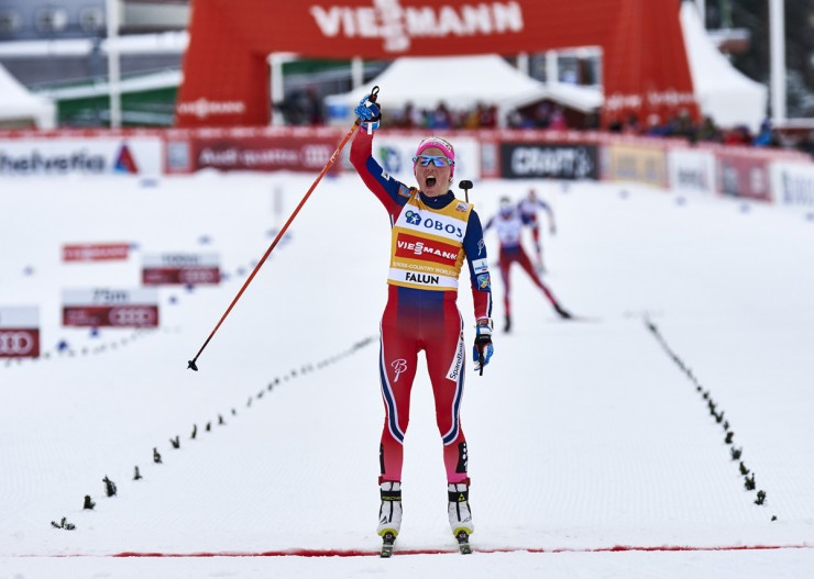 Norway's Therese Johaug celebrates her 14th Globe Cup victory in the ten k freestyle mass start off on Sunday in Falun, Sweden. Johaug led her teammates Heidi Weng and Astrid Uhrenholdt Jacobsen in a Norwegian podium sweep and American Jessie Diggins positioned fourth. (Photo: Fischer/NordicFocus)