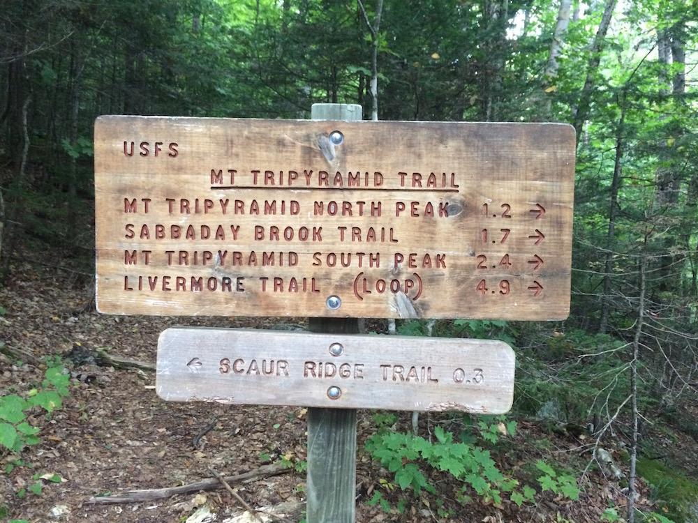 The Mt. Tripyramid trailhead: let the adventure begin (Photo: Tad Elliott)