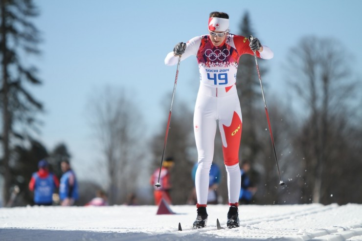 Dasha Gaiazova (Canadian World Cup Team) racing to 44th in Thursday's 10 k classic individual start at the 2014 Olympics in Sochi, Russia.
