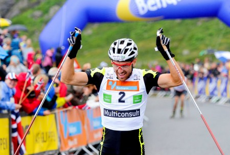 Maurice Manificat of France celebrates his win in the 2014 Blink Festival hill climb. (Photo: Skifestivalen Blink/Facebook)