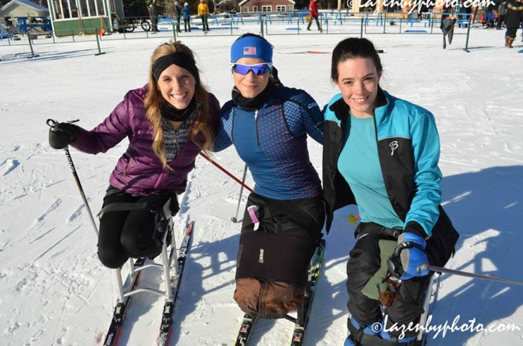 U.S. para skiers (left to appropriate) Brittany Fisher, Oksana Masters, and Joy Rondeau at 2016 U.S. Paralympics Sit Ski Nationals and IPC Continental Cup. (Photograph: John Lazenby/Lazenbyphoto.com)