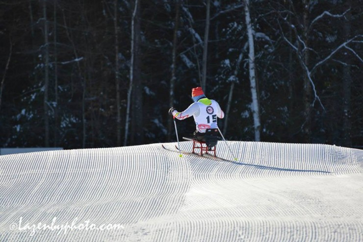 Canadian para athlete Yves Bourque, of Quebec, a veteran of the 2014 Sochi Paralympics, skiing in Craftsbury, Vt., at 2016 U.S. Paralympics Sit Ski Nationals and IPC Continental Cup from Jan. 6-9. (Photograph: John Lazenby/Lazenbyphoto.com)