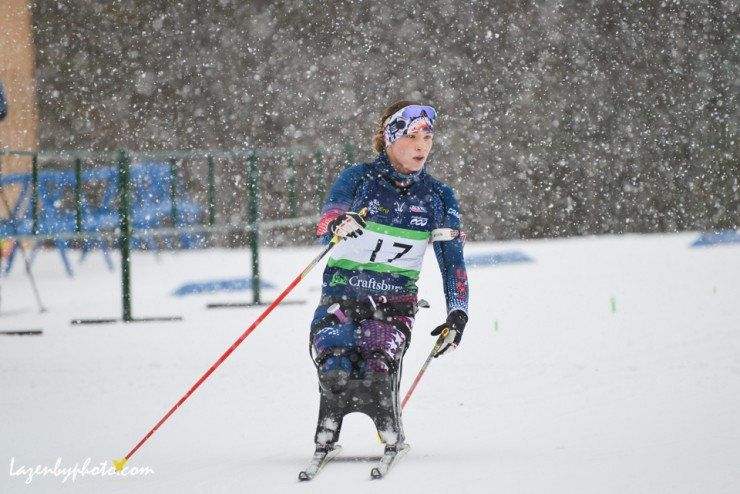 Oksana Masters (U.S. Paralympics Nordic A-team) during a snowy day in Craftsbury, Vt., at the U.S. Paralympics Sit Ski Nationals and Global Paralympic Committee (IPC) Continental Cup from Jan. 6-9. (Photo: John Lazenby/Lazenbyphoto.com)